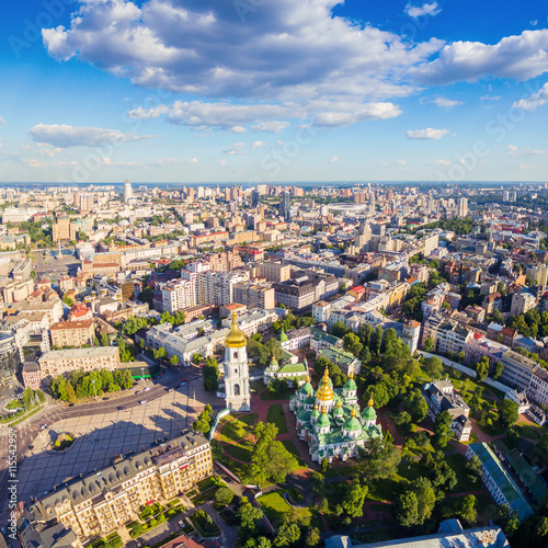 Spoed Foto op Canvas Kiev Kiev City skyline aerial view. Cityscape of capital of Ukraine. Sophia Square and St. Sophia Cathedral view.