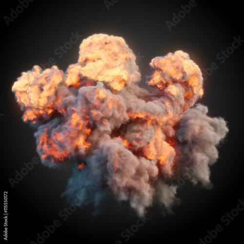 Valokuva  Large explosion with black smoke in dark 3d rendering