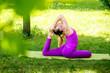 girl doing asana in park Yoga.