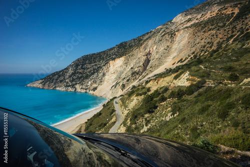 Printed kitchen splashbacks Coast Picturesque Mirtos beach on the island of Kefalonia, Greece