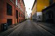 A narrow street, in Copenhagen, Denmark.