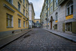 Cobblestone street and medieval architecture in the Old Town of