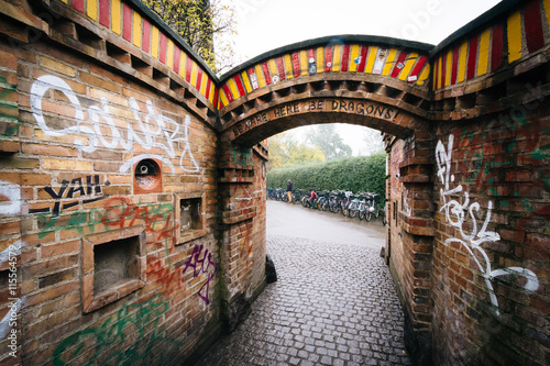Entrance to Christiania, in Christianshavn, Copenhagen, Denmark. Poster