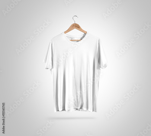 Blank White T Shirt Front Side View On Hanger Design Mockup
