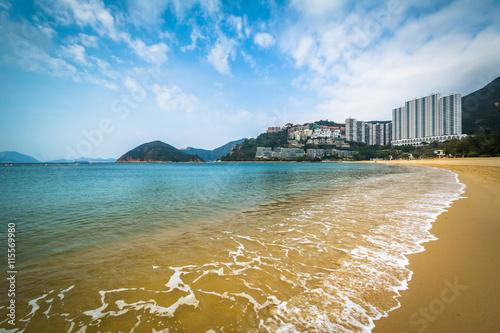 Fényképezés  Beach and skyscrapers at Repulse Bay, in Hong Kong, Hong Kong.