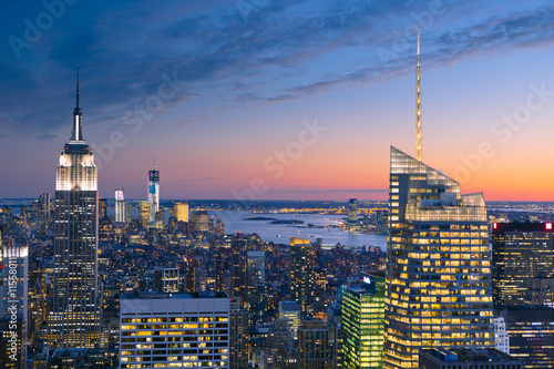 USA, New York State, New York, Manhattan, High angle view of city at dusk