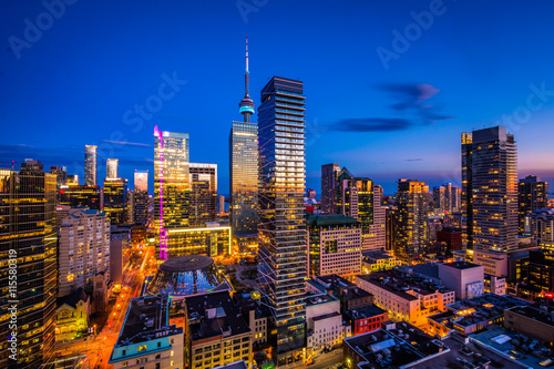 View of modern buildings at twilight in downtown Toronto, Ontari