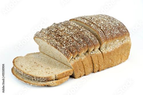 Fotografie, Obraz  whole grain sliced bread on white background