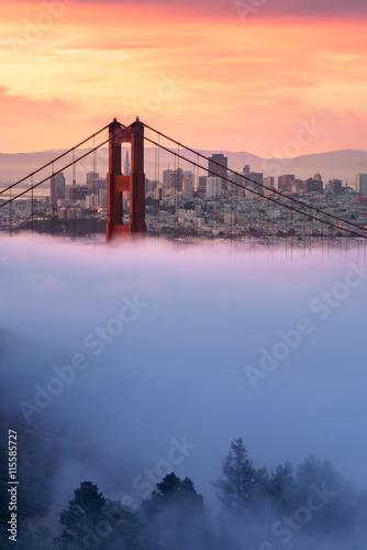 Early morning low fog at Golden Gate Bridge Wallpaper Mural