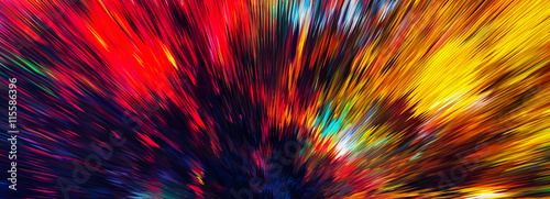 Horizontal wide color explosion abstraction background backdrop