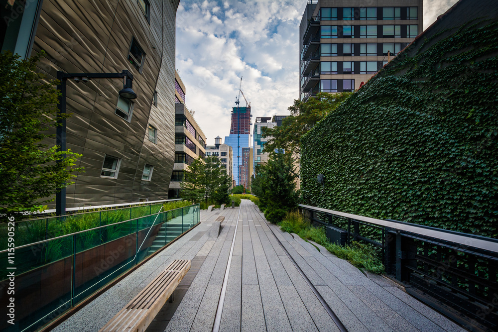 Fototapety, obrazy: Buildings and walkway on The High Line, in Chelsea, Manhattan, N