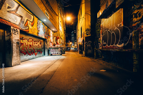 Graffiti Alley at night, in the Fashion District of Toronto, Ont - 115598348