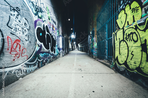 Graffiti seen on the Manhattan Bridge Walkway, in the Lower East