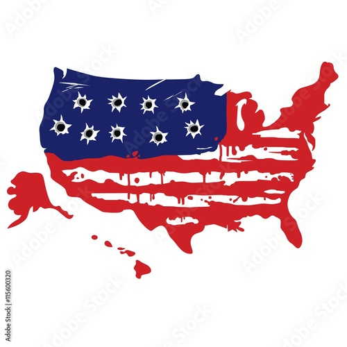 Photo  American Map With Bullet Holes Vector