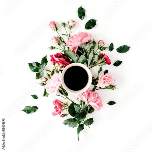 Cup of coffee with pink roses and flowers. Flat lay, top view Poster