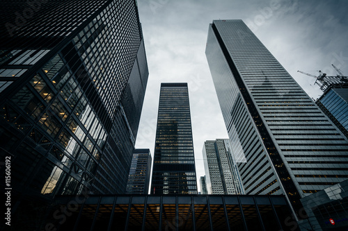 Modern buildings in the Financial District, in Toronto, Ontario.