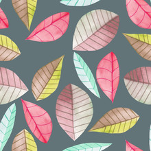 Seamless Floral Pattern With The Watercolor Bright Colorful Leaves, Hand  Painted Isolated On A Dark Background