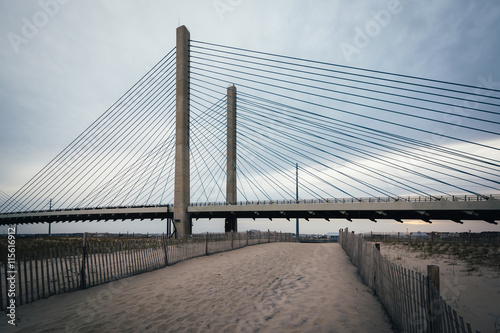 The Indian River Bridge and sandy path near Bethany Beach, Delaw Canvas Print