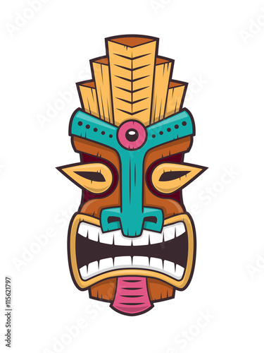 polynesian tiki mask vector isolated on white buy this stock rh stock adobe com vector tiki mask tiki vectoriel