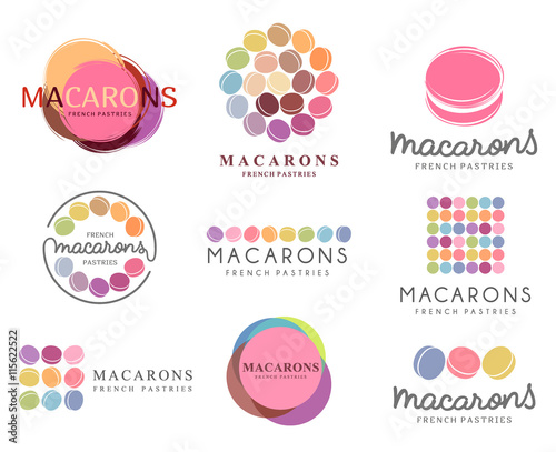Fotografie, Obraz Set of vector logo macaron for shop, boutique, store