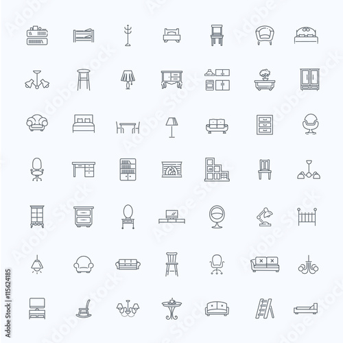 Furniture and home decor icon set , Buy this stock vector