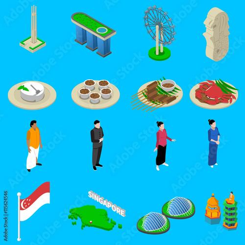 Singapore Travel  Symbols Isometric Icons Set Poster