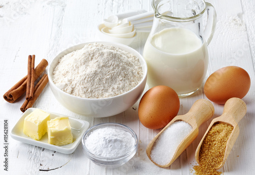 Baking ingredients Fotobehang