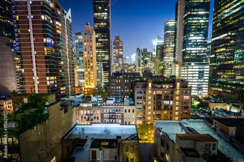View of buildings in Midtown East at night, in Manhattan, New Yo