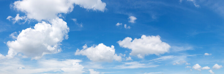 Vibrant color panoramic sky with cloud on a sunny day.