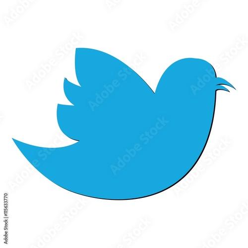 Obraz Social Bird icon on background. Modern flat twitter pictogram, b - fototapety do salonu