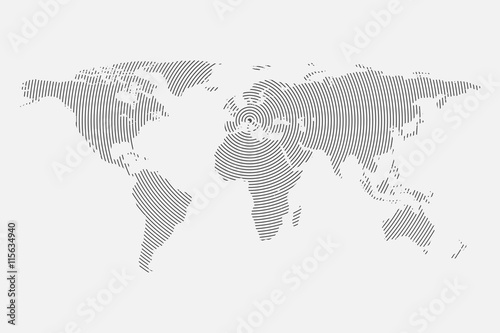 In de dag Wereldkaart Clean Gray wave world map isolated on white background. Centric