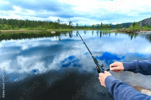 Printed kitchen splashbacks Fishing Man fly-fishing in Norway