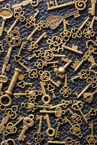 steampunk old vintage metal keys background on leather
