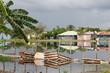 Armutshütten werden überflutet (Karibik)