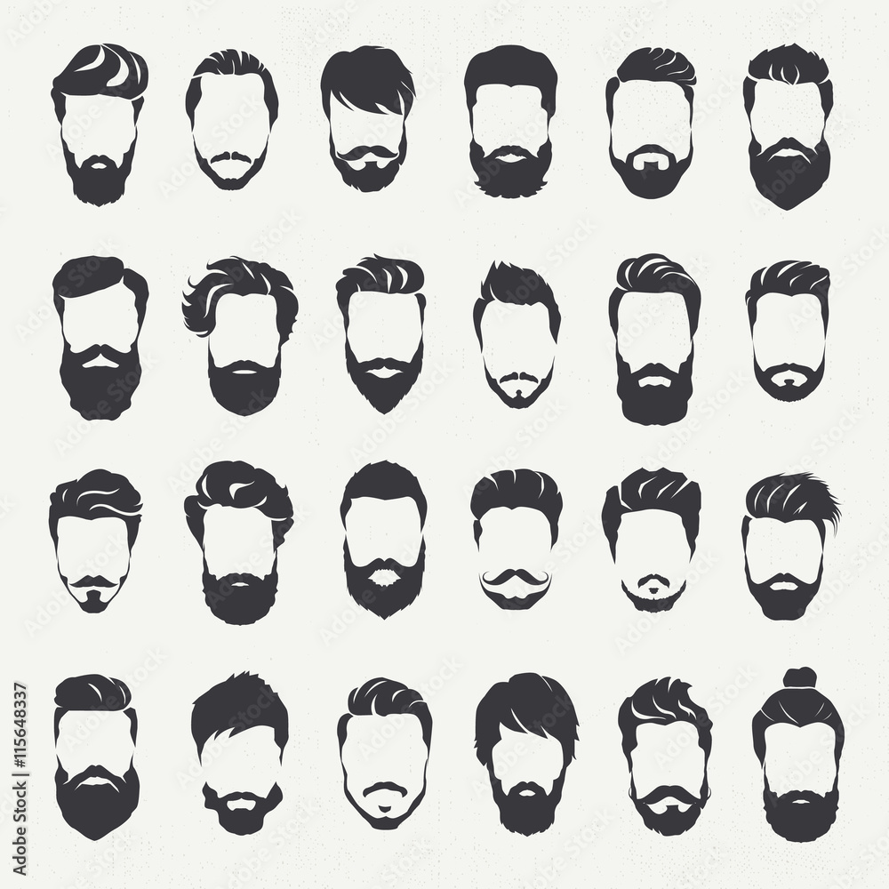 Photo & Art Print Hipster hair style and beards, Men fashion vector ...