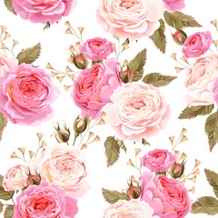Fototapeta Do cukierni English roses seamless