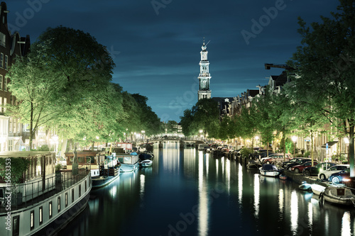 Photo  Westerkerk church tower at canal in  Amsterdam, Netherlands