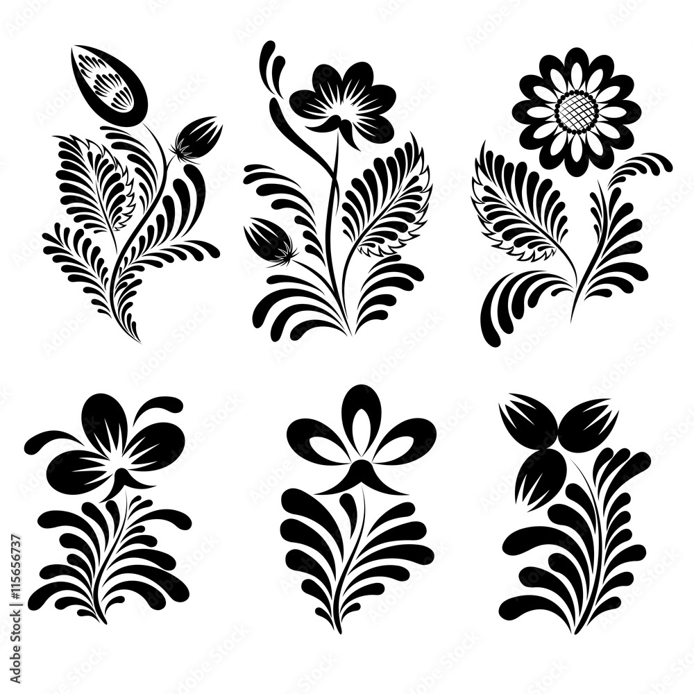 The elements of the ornament in a folk style