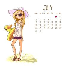Calendar 2017, July Month. Season Girls Design. Vector Illustrat