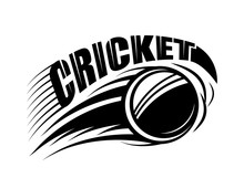 Vector Illustration Of Cricket Badge Template With Flying Ball And Typography Text Sign In Monochrome Simple Style. Use For Print, Web Design. Editable