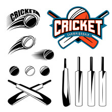 Set Of Cricket Sports Template...