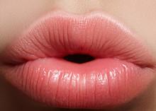 Sweet Kiss. Perfect Natural Lip Makeup. Close Up Macro Photo With Beautiful Female Mouth. Plump Full Lips. Close-up Face Detail. Perfect Clean Skin, Light Fresh Lip Make-up. Beautiful Spa Tender Lip.