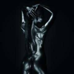 Obraz na SzkleLady in silver, back posing