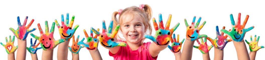Fototapeta Do przedszkola Children In Creativity - Hands Painted With Smiles