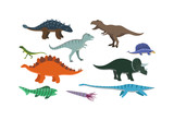 Fototapeta Dinusie - Dinosaur cartoon vector illustration. Cartoon dinosaurs cute monster funny animal and prehistoric character cartoon dinosaur. Cartoon comic tyrannosaurus fantasy dinosaur