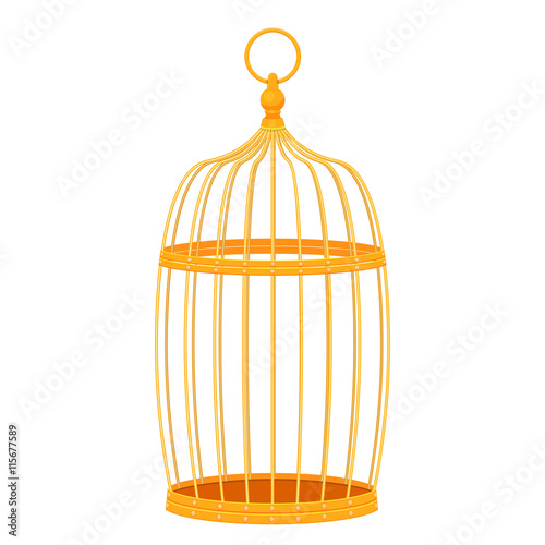 decorative golden bird cage vector illustration isolated on white