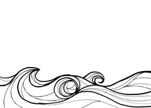 Abstract Ocean In Line Art Black And White Background