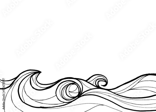 Papiers peints Abstract wave Abstract ocean in line art black and white background