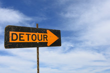 Detour Sign With Wispy Clouds In Summer Sky Background