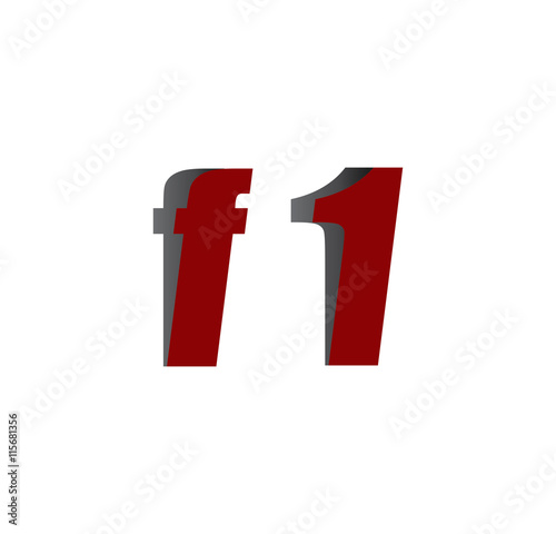 Deurstickers F1 f1 logo initial red and shadow
